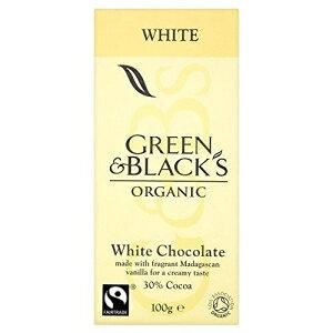 グリーン&ブラックのオーガニックフェアトレードホワイトチョコレート(100g)-2個入りパック Green & Black's Organic Fairtrade White Chocolate (100g) - Pack of 2