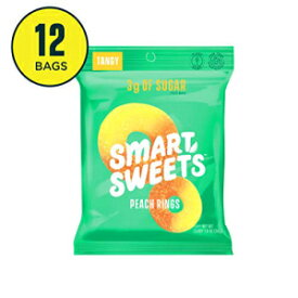 SmartSweets Peach Rings, 1.8 Oz Bags (Box of 12), Candy with Low-Sugar (3g) and Low-Calories (80)- Free of Sugar Alcohols and No Artificial Sweeteners, 12 Count