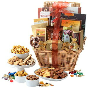 ブロードウェイバスケットギフトバスケットデラックス(チョコレート、リントトリュフ、ナッツの盛り合わせ、グルメクッキー、味付けナッツ、お菓子など) Broadway Basketeers Gift Basket Deluxe