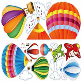 LiveGallery Removable Creative 3D Hot air Ballon Wall Stickers Murals DIY Home Wall Decoration Art Decor Decals for Kids Rooms Baby Bedroom Living Room Nursery Classroom Boy and Girl Gift Multicolor