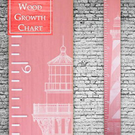 Back40Life | Premium Series - (The Lighthouse) Wooden Growth Chart Height Ruler (Coral)