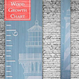 Back40Life | Premium Series - (The Lighthouse) Wooden Growth Chart Height Ruler (Aqua)