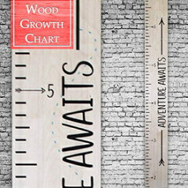 Back40Life | Premium Series - (Adventure Awaits) Wooden Growth Chart Height Ruler (Natural Birch)