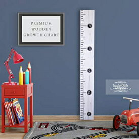 Back40Life Wooden Kids Growth Chart Ruler for Boys and Girls (Distressed Typewriter) (Weathered White)