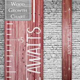 Back40Life | Premium Series - (Adventure Awaits) Wooden Growth Chart Height Ruler (Crimson Wash)