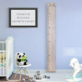 Back40Life Wooden Kids Growth Chart Ruler for Boys and Girls (No Tippy Toes - Loved Beyond Measure) (Weathered Natural)