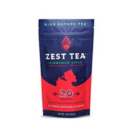 ゼストティーエナジーホットティー、高カフェインブレンドナチュラル&ヘルシートラディショナルコーヒー代用品、ケトに最適、1食あたり150mgのカフェイン、20袋(1ポーチ)、アップルシナモン紅茶 Zest Tea Energy Hot Tea, High Caffeine Blend Natural & Hea