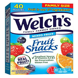 ウェルチズフルーツスナック、ミックスフルーツ、グルテンフリー、バルクパック、0.9オンスの個別シングルサーブバッグ(40パック) Welch's Fruit Snacks, Mixed Fruit, Gluten Free, Bulk Pack, 0.9 oz Individ