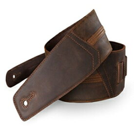 """Straight Up Full Grain Padded Leather Guitar Strap - For Electric, Acoustic, and Bass Guitars by Anthology Gear (3"""" Width, Whiskey Brown)"""