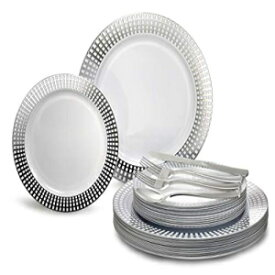 """OCCASIONS FINEST PLASTIC TABLEWARE """" OCCASIONS"""" 150 pcs set (25 Guests)-Wedding Plastic Plates & cutlery - Disposable dinnerware 10.25'', 7.5'' + Silverware w/double fork (Princess White/Silver)"""