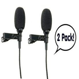 Lavalier Lapel Microphone Lapel Microphone (Lavalier) Clip-on (2 Pack) Omnidirectional Condenser Mic for Apple iPhone, iPad, iPod Touch, Samsung Android and Windows Smartphones Film Interviews Voval Video Recording (B