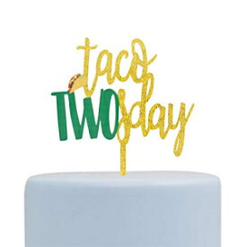 Firefairy Taco Twosday Glitter Arcylic Cake Topper, Cactus Cacti Cake Topper, Fiesta Cake Topper, Second Birthday Decoration (Gold)