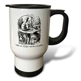 3dRose tm_193796_1 Who are You Smoking Caterpillar Quote from Alice in Wonderland Stainless Steel Travel Mug, 14 oz, White