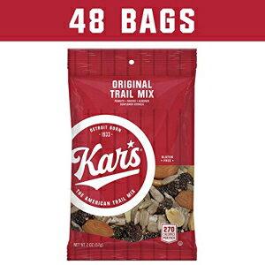 Kar's Nutsオリジナルトレイルミックススナック-ピーナッツ、レーズン、アーモンド、ヒマワリの穀粒の無塩ブレンド-2オンスの個別シングルサーブバッグのバルクパック(48パック) Kar's Nuts O
