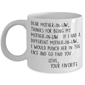 Ashton Books-n-Things Dear Mother In Law Mug - 11 or 15 oz Best Inappropriate Snarky Sarcastic Coffee Comment Tea Cup With Funny Sayings, Hilarious Unusual Quirky Gag Gift