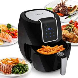 NutriChef Digital Air Fryer 5.6 Qt XXL - 1800 Watt Power Electric Oilless Kitchen Hot Air Frying Convection Multi Cooker, Non Stick Fry Basket - Digital Cooking Time Setting options, Black- PKAIRFR65