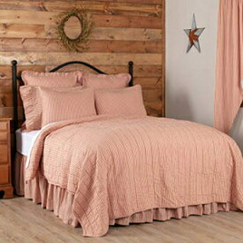 VHC Brands Sawyer Mill Farmhouse Bedding Ticking Cotton Pre-Washed Striped King Coverlet, Red