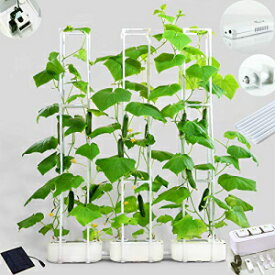 """E SUPEREGROW Big Smart Hydroponics Growing System Dual Power Indoor Garden kit for Big Climbing Vegetables with Built-in Pump and Smart Reminder Plus 60"""" Climbing Trellis Super Indoor Hydroponics Growing System"""