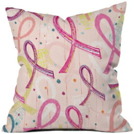Deny Designs Rachael Taylor Quirky Pink Ribbon Throw Pillow, 26 by 26-Inch