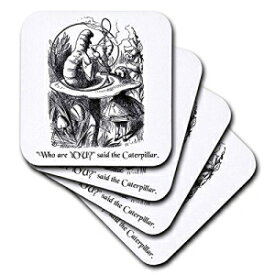 3dRose CST_193796_1 Who are You Smoking Caterpillar Quote from Alice in Wonderland Soft Coasters, (Set of 4)