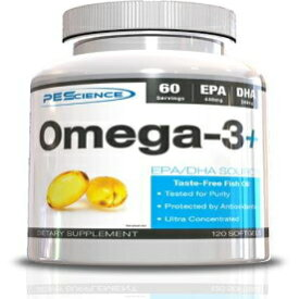 PEScience Omega 3+, 120 Soft Gels, EPA and DHA Fish Oil Supplement