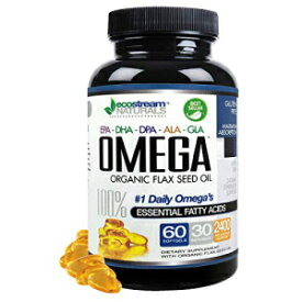 ecostream Naturals Omega 3-6-9 Blend with DPA, EPA, DHA, ALA and GLA and Organic Flax Seed Oil, Over 2,800 Milligram Strength - Gluten Free - Made in The USA - 60 Soft-Gels