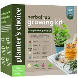 Planters' Choice Grow 4 of Your Own Organic Herbal Tea Kit + Stainless Steel Tea Infuser - Chamomile, Peppermint, Lemon Balm, Red Clover - Everything Included: Pots, Soil, Seeds, Booklet, Bamboo Plant Labels