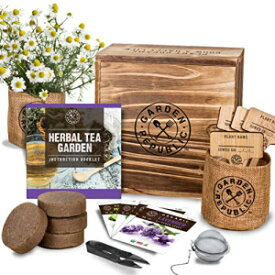 · GARDEN REPUBLIC · Indoor Herb Garden Seed Starter Kit - Organic Herbal Tea Growing Kits, Grow Medicinal Herbs Indoors, Lavender Chamomile Lemon Balm Mint Seeds, Soil, Plant Markers, Planting Pots, Infuser, Plan