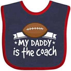 Inktastic - Football My Daddy Is The Coach Baby Bib Navy and Red 2cd7f