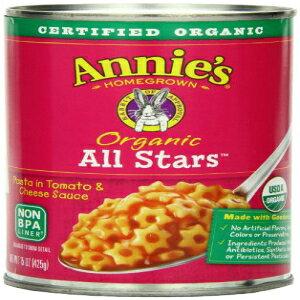アニーのオーガニックオールスタートマトとチーズソースのパスタ缶詰15オンス-12パック Annie's Homegrown Annie's Organic All Stars Canned Pasta in Tomato & Cheese Sauce 15 oz -Pack of 12