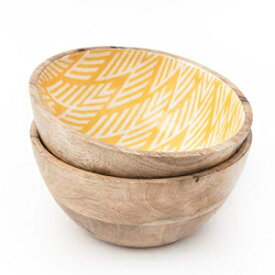 Folkulture Set of 2 Wooden Bowls or Acai Bowl for Food, Cereals, Fruits or Ice Cream | 100% Natural, Eco Friendly, Vegan Buddha Bowl for Smoothie or Salad | 20 Ounces, Mango Wood, 6 Inch by 3 Inch, Yellow