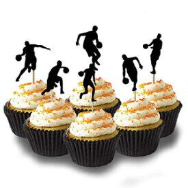 バスケットボールのシルエットカップケーキトッパーデコレーションカードストックカラーブラック、12 PC Picwrap Basketball silhouette Cup Cake Topper Decoration Card Stock Color Black, 12 PC
