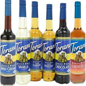 トラーニシュガーフリーシロップバラエティパック6個入りアーモンドロカ、バニラ、ヘーゼルナッツ、アイリッシュクリーム、チョコレート、キャラメル Torani Sugar Free Syrup Variety pack of 6, Almo