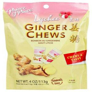 ライチと生姜キャンディーチュー(28人前) Prince Of Peace Ginger Candy Chews with Lychee (28 Servings)