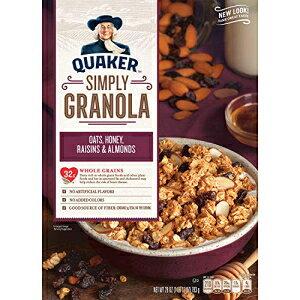 クエーカーシンプリーグラノーラ、オーツハニーアーモンド&レーズン朝食用シリアル、28オンス Quaker Simply Granola, Oats Honey Almonds & Raisins Breakfast Cereal, 28 oz