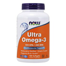 Now Foods NOW Supplements, Ultra Omega-3 Molecularly Distilled and Enteric Coated, 180 Softgels