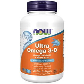 Now Foods NOW Supplements, Ultra Omega 3-D, Omega-3 Fish Oil + Vitamin D-3, 90 Softgels
