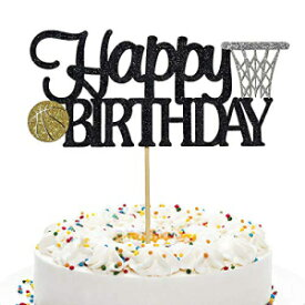 Anxdhバスケットボールバースデーフラッシュケーキトッパー、バスケットボールバースデーパーティーケーキデコレーション(ブラック) Anxdh Basketball Birthday Flash Cake Topper, Basketball Birthday Party Cake Decoration (Black)