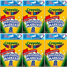 Crayola Ultra-Clean Markers, Broad Line, Bold 8 ea (Pack of 6)