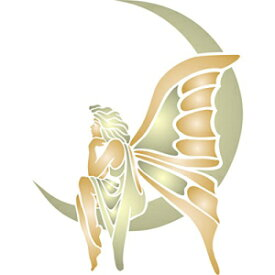 """Stencils for Walls Moon Fairy Stencil - (size 5""""w x 6.5""""h) Reusable Wall Stencils for Painting - Best Quality Fairy Moon Ideas - Use on Walls, Floors, Fabrics, Glass, Wood, Terracotta, and More…"""