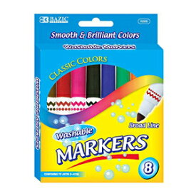 B BAZIC PRODUCTS BAZIC 8 Colors Broad Line Jumbo Washable Markers Pens, Assorted Classic Colors Marcador Gift for Kids School Art