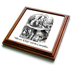 """3dRose trv_193796_1 Who are You Smoking Caterpillar Quote From Alice in Wonderland Trivet with Ceramic Tile, 8"""" by 8"""", Brown"""