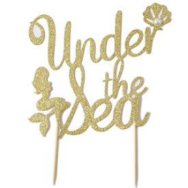 """「海中マーメイドケーキトッパー用品ビーチパーティースイミングプールベビーシャワー誕生日海パーティーマーメイドテーマパーティーケーキゴールドグリッターパール装飾」 C L COOPER LIFE """"Under The Sea Mermaid Cake Topper Supplies For Beach Party Sw"""