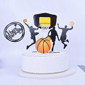 SHAMIバスケットボールテーマケーキトッパー男の子の誕生日カップケーキトッパーパーティーデコレーションハッピーファーザーバースデー用品デコレーションマンバースデー(ブラック) SHAMI Basketball theme cake topper for Boy birthday CupCake Topper Party