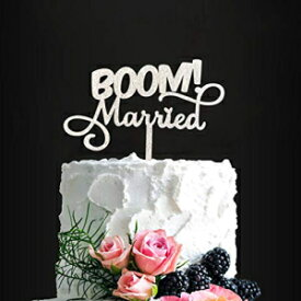 N/O BOOM! Married Wedding Cake Topper, Silver Glitter Funny Cake Topper, Quirky, Nerdy Topper