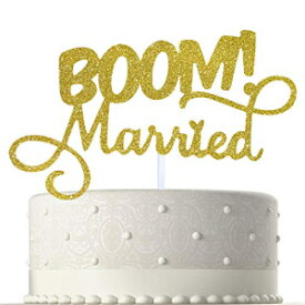 BOOM! Married Wedding Cake Topper, Gold Glitter Funny Cake Topper, Quirky, Nerdy Topper
