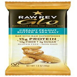 生Rev Gloプロテインバー、クリーミーピーナッツバター&シーソルト、1.6オンス(12パック)、15gタンパク質、2g砂糖、14g繊維、ケトフレンドリー、ビーガン、植物性タンパク質、グルテンフ