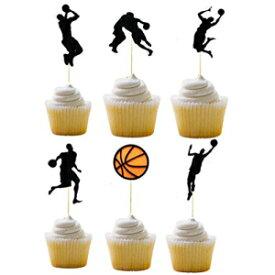 Awyjcasバスケットボールの誕生日カップケーキトッパー  バスケットボールのテーマハッピーフェルトガーランドパーティーデコレーション、バスケットボールパーティーデコレーション Awyjcas Basketball Birthday Cupcake topper   Basketball Theme Happy Felt