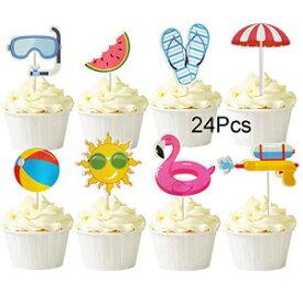 ムルカヤ24個サマープールテーマビーチボールサンアンブレラスリッパウォーターガンゴーグルカップケーキトッパーケーキピック夏の誕生日トロピカルルアウハワイアンパーティー用品 Mulukaya 24Pcs Summer Pool Theme Beach Ball Sun Umbrella Slippers Water Gu