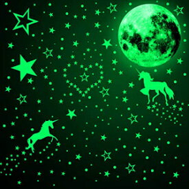 KIDDALE Full Moon Wall Stickers Glow in The Dark Halloween Stickers Luminous Moon Wall Sticker Creative Decoration for Bedroom Childrens Room Living Room Ceiling Witch